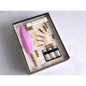 Pink Feather Dip Pen 3 Inks 6 Nibs