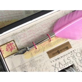 Penna piuma rosa, 3 inchiostri, 6 pennini