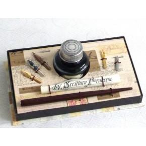 Penna calligrafica in legno, 5 pennini, inchiostro grande