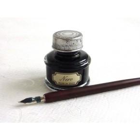 Pluma de la caligrafía de madera, 5 nibs, tinta grande