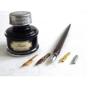 Kalligrafipenna i trä, 5 spetsar, stort bläck