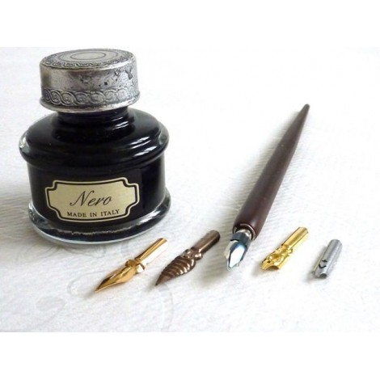 Dip de madeira Pen 5 nibs Ink Grande