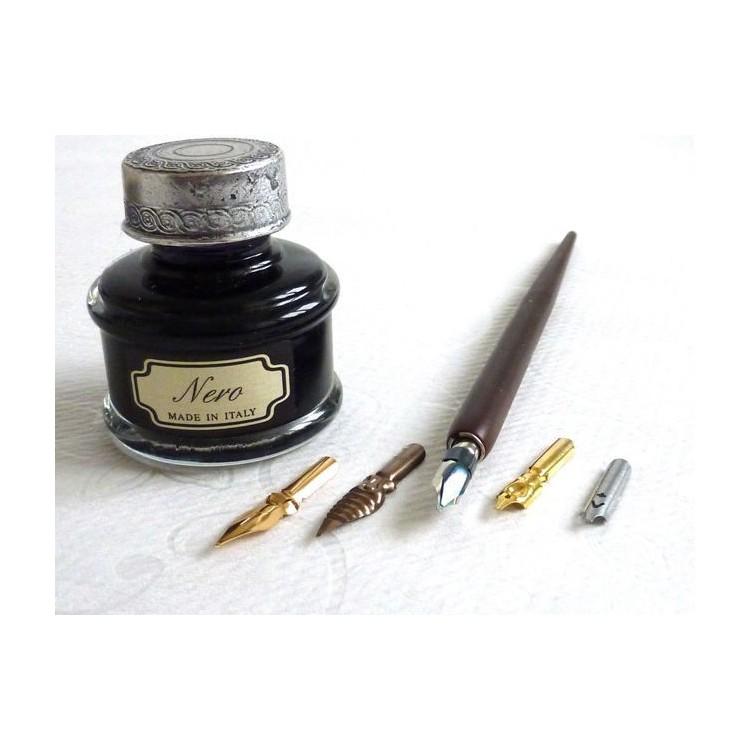 Wooden Dip Pen 5 Nibs Large Ink