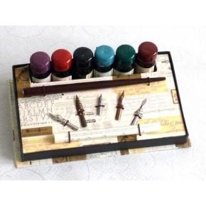 Holzkalligraphiestift, 6 Tinten, 5 Federn