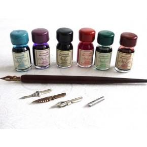 Trä Kalligrafi Dip Pen 6 Bläck 5 Nibs