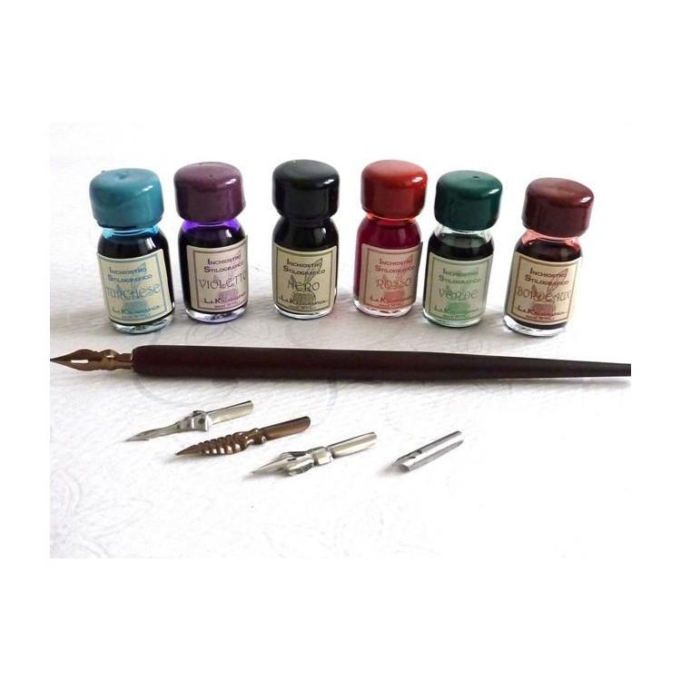 Penna calligrafica in legno, 6 inchiostri, 5 pennini