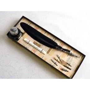 Penna piuma nera - Design gufo