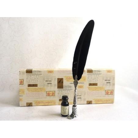 Black Feather Dip Pen Boot Holder & Ink