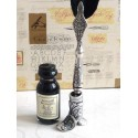 Black Feather Dip Pen Boot Holder & Ink