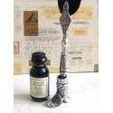 Black Feather Dip Pen Holder Boot & Ink
