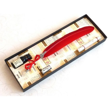 Red Feather Dip Pen Boot Holder & Ink