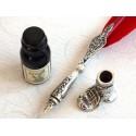 Red Feather Dip Pen Boot Holder & Bläck