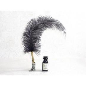 Avestruz caligrafía pluma pluma - Negro