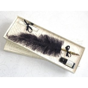 Ostrich Feather Pen - Black