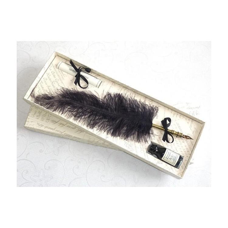 Penna calligrafica piuma di struzzo - Nera