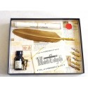 Gold Feather Quill Dip Pen 6 Nibs och bläck