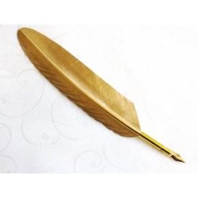 Set penna calligrafica piuma d'oro