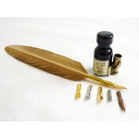 Kulta Feather Quill Dip Pen 6 Nibs & Ink