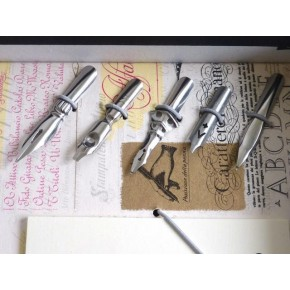 Silver feather calligraphy pen set