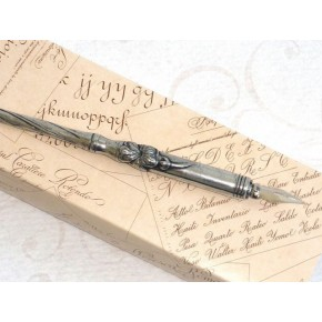 Penna calligrafica in peltro - Floreale