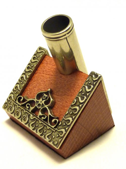 Wood and Nickel Silver Alpaca Pen Holder by Bortoletti in Italy