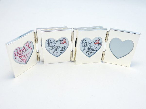 Calligraphy mini love heart chromed double frame picture