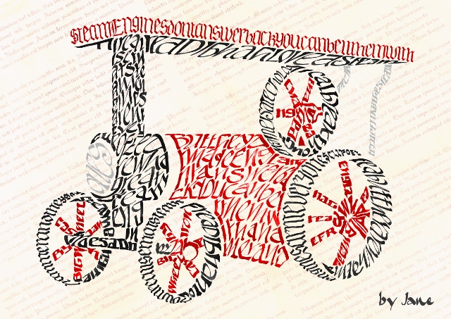 Traction Engine calligraphy greeting card