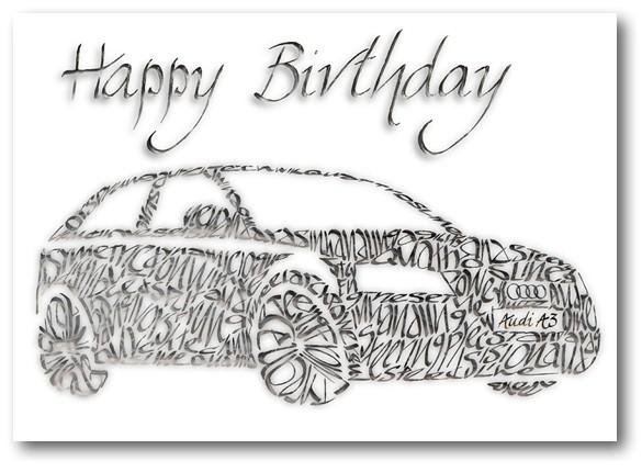 Audi A3 syntymäpäivä kortti