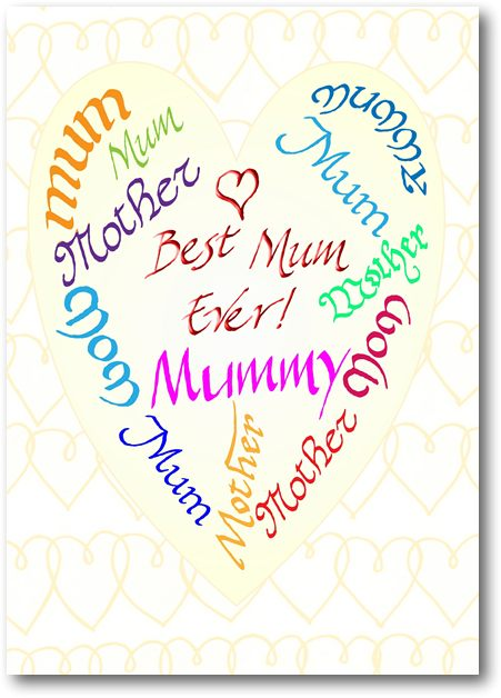 Best Mum Ever Calligraphic Card