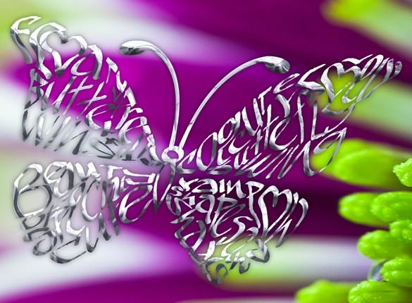 Krom fjäril på en lila blomma