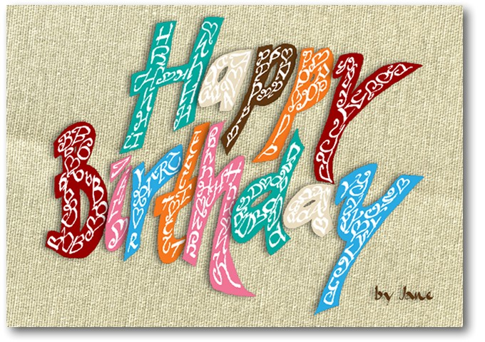 Happy Birthday - Vintage style calligraphy card