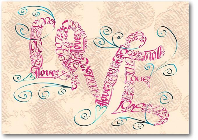 Vintage style Love Swirls greeting card