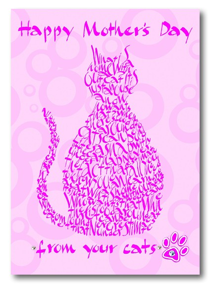 Happy Mother's Day from Your Cats. Calligraphic greeting card