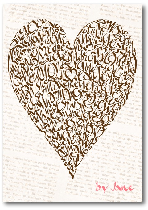 Vintage Chocolate Valentine Love Heart Calligraphy Greeting Card