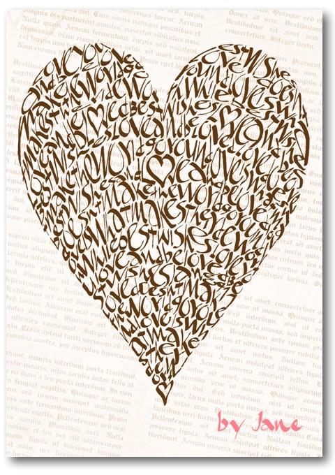Vintage Chocolat carte de voeux de Saint-Valentin de coeur d'amour de calligraphie