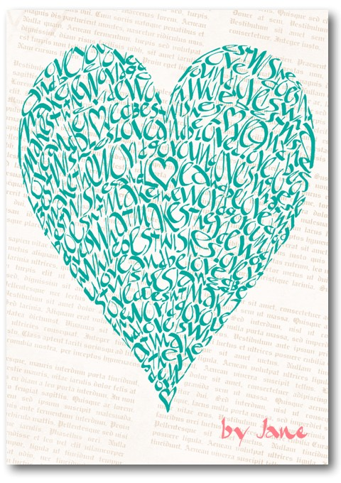 Vintage green, valentine Love Heart Calligraphy Greeting Card