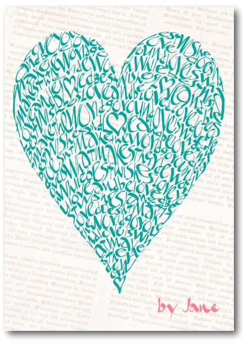 Vintage very, carte de voeux de Saint-Valentin de coeur d'amour de calligraphie