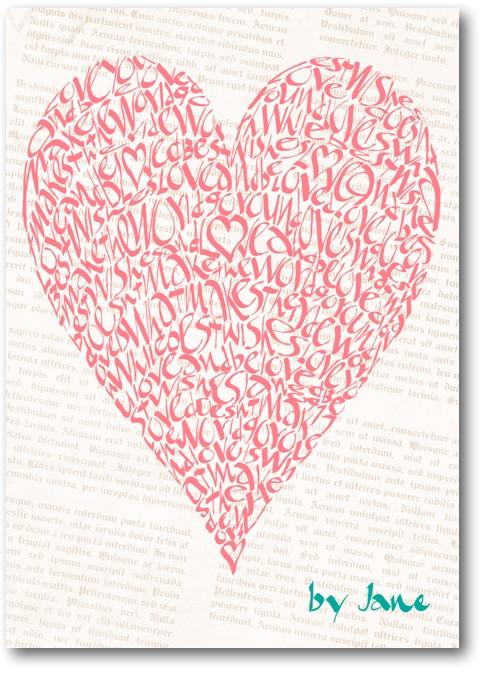 Vintage Rose carte de voeux de coeur d'amour de calligraphie