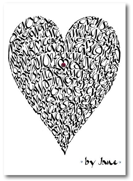 Valentine Love Heart Calligraphy Greeting Card
