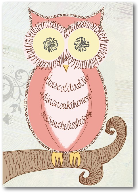 Klug alte Eule - kalligraphische Grußkarte