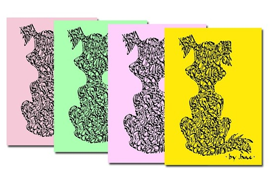 Dog notepack in pastel shades