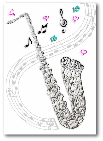Saxophone Celebration Calligraphy Card