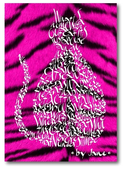 Cerise Pink Tiger Cat Card