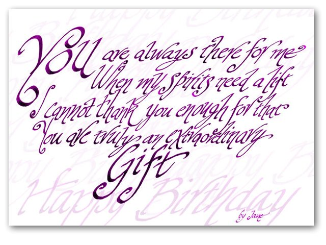 You Are A True Gift - calligraphy card