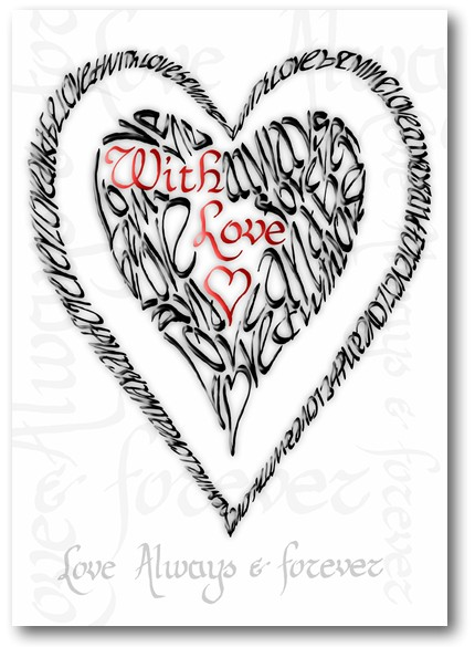 Valentine With Love (Red & Black) Calligraphy Card