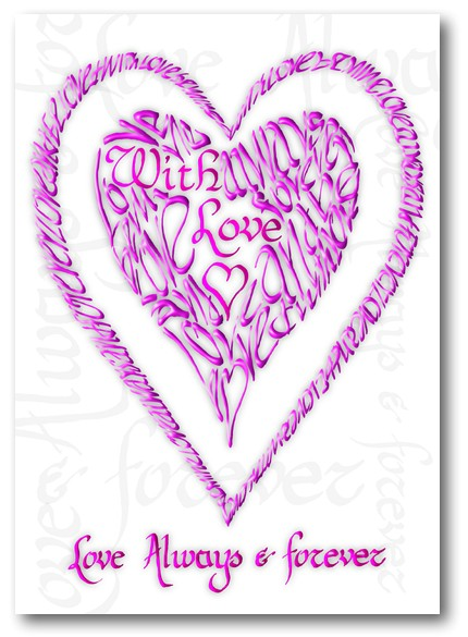 Valentine With Love in Pink - Calligraphy Card