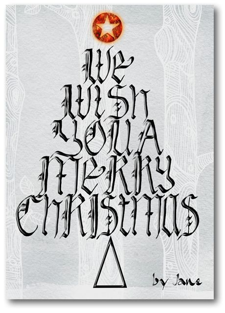 Christmas Wishing Tree Calligraphy Greeting Card