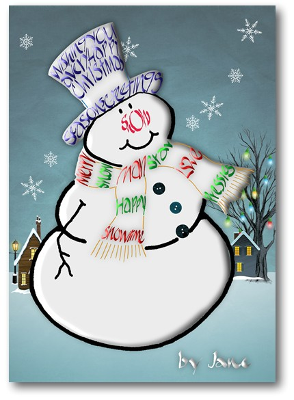 Snowman Calligraphy Card